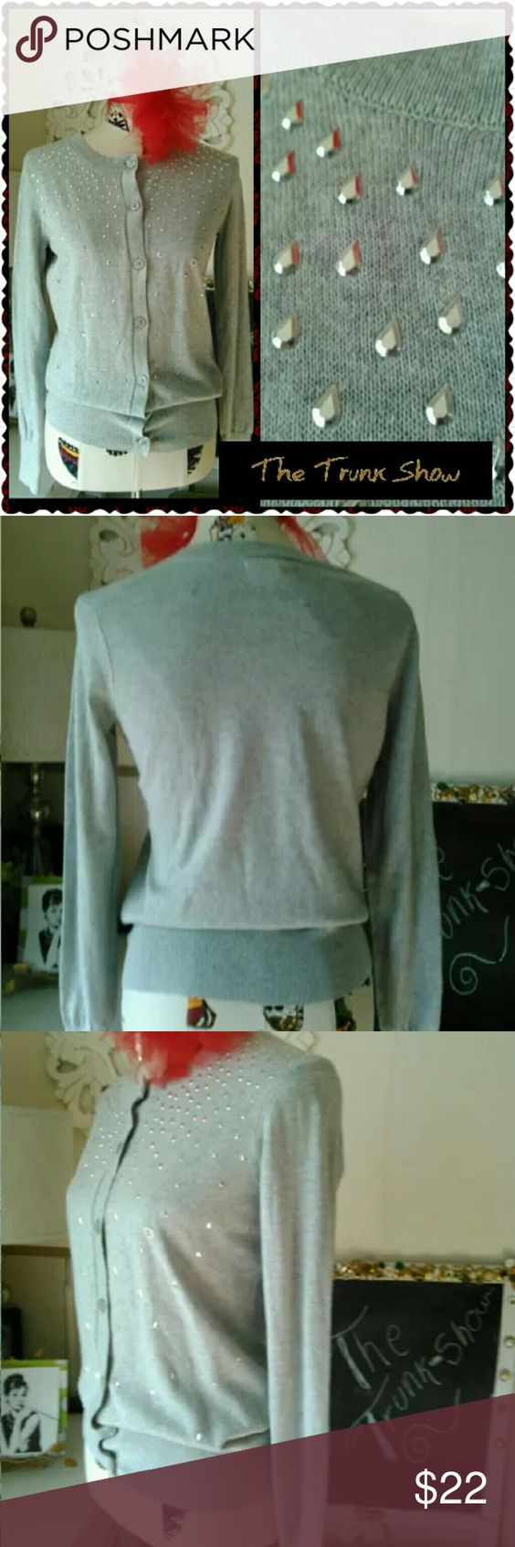 BASS Light Grey Button up Cardigan Size MEDIUM Lovely grey cardigan by Bass, With embellished bodice, button up. this is a brand new item.   Bust 39? LENGTH 16? From under arm to hem  Sorry no trades XOXO Alice Bass Sweaters Cardigans