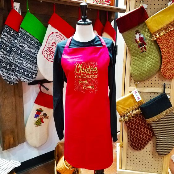 Available at Appli-Ks: Embroidered Holiday Aprons, pricing includes monogram