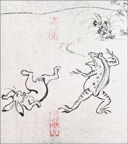 色紙 〈国宝 鳥獣人物戯画(相撲)〉