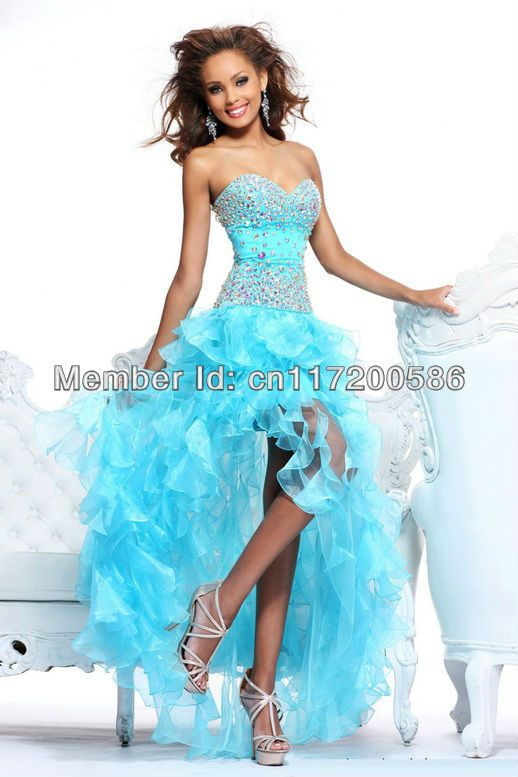 stock Sexy Blue High Low Prom party dress Graduation Ball gown ...