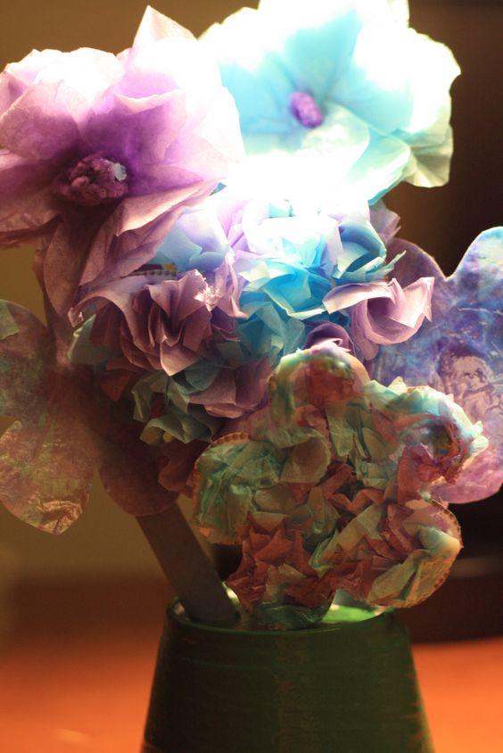 Flower Bouquet made from tissue paper.    #DIY #art #craft #flower #bouquet