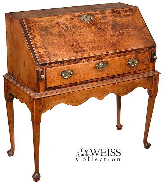 A Tiger Maple Desk on Frame, Rhode Island, c.1750 - $22,000