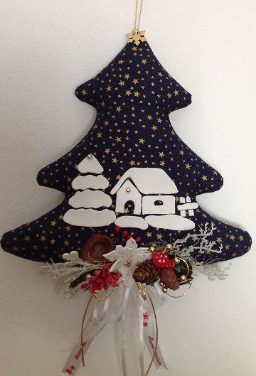 Lavoretti Di Natale Di Stoffa.Albero Fuori Porta In Stoffa Natale Lavoretti Ornamento