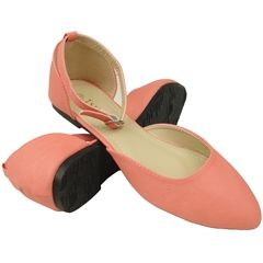 Women's Casual Dress Side Peep Pointy Toe Flat Comfort Shoes Sizes 6-10 Pink