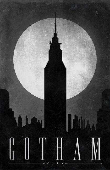 Affiches de villes de superhéros