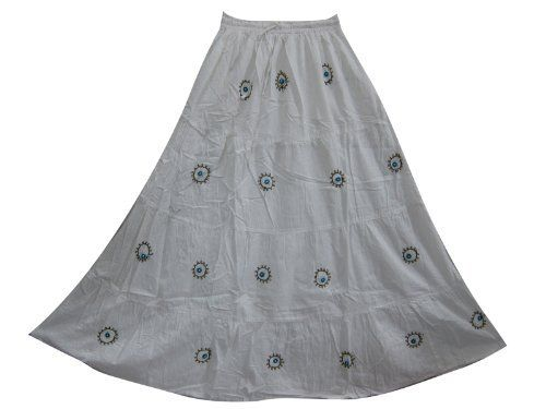 """Peasant Maxi Skirt- White Embroidered Tiered Gypsy Bohemian Long Skirt 38"""" Mogul Interior,http://www.amazon.com/dp/B00BMM3LMO/ref=cm_sw_r_pi_dp_jpmmrb1ZSCHAB11P"""