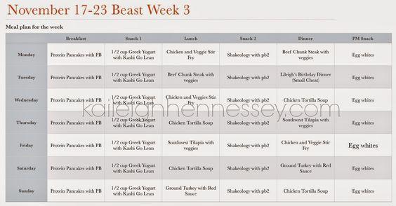 Body Beast Progress Update Week 3 Eat Healthy Meal Plans Tips - beast workout sheet