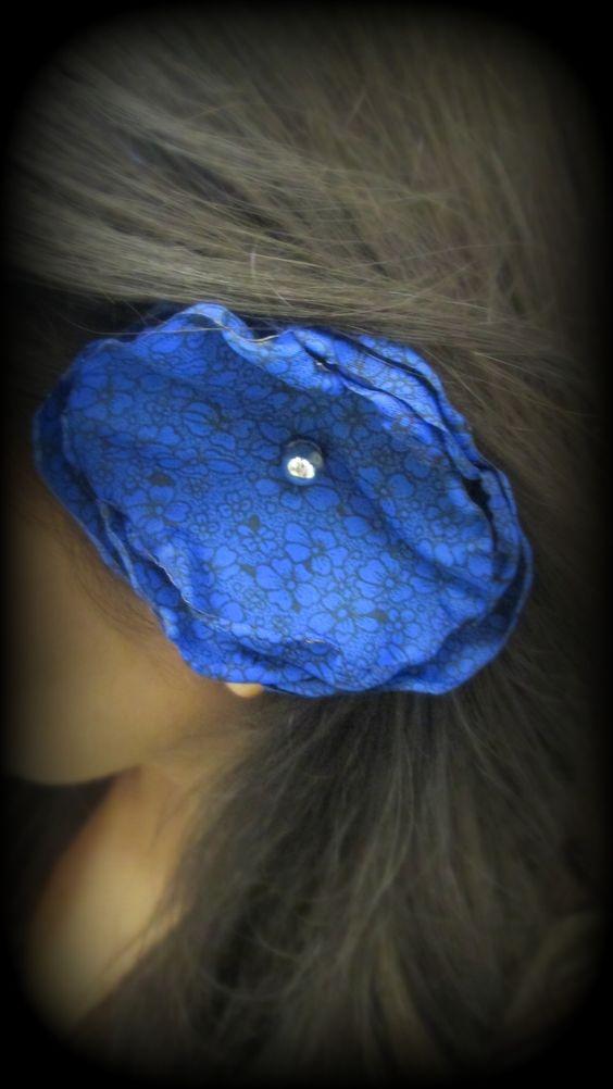 DiY~ {sapphire blue rose hair clip}