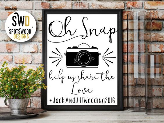 OH SNAP Help Us Share The Love Wedding/Party by SpotswoodDesigns