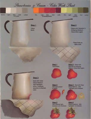 The tricky art of blending, This step sheet is by Patti Derenzo  and one of the secrets is to use very little paint and a soft touch with the brush held upright.