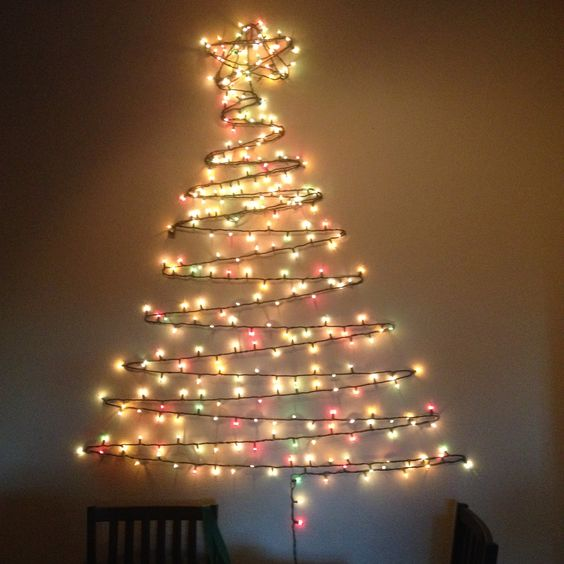 Fixing Christmas Lights To Wall : 11 last-minute DIY Christmas trees Jeweled christmas trees, Wall christmas tree and ...