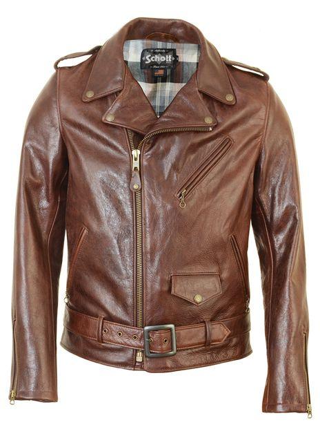 Schott NYC lightweight waxy cowhide motorcycle jacket 626