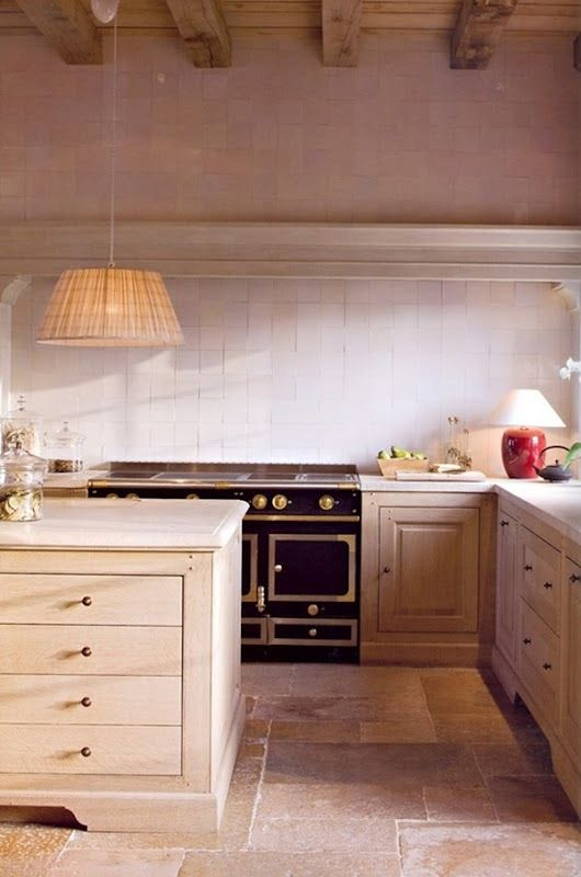 Belgian kitchen w/no uppers, wood ceilings w/beams: