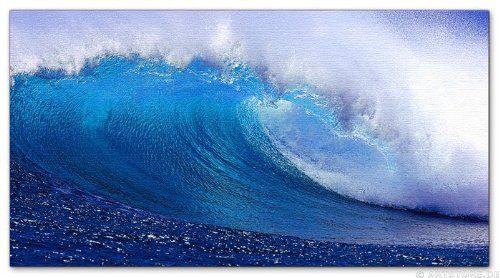 Wandbild auf echter Leinwand aufgespannt, Kunstdruck Jack Dyrell FRESH BLUE WAVE, 130cm x 70cm, 1 Teil, Bilder fertig gerahmt auf Keilrahmen...