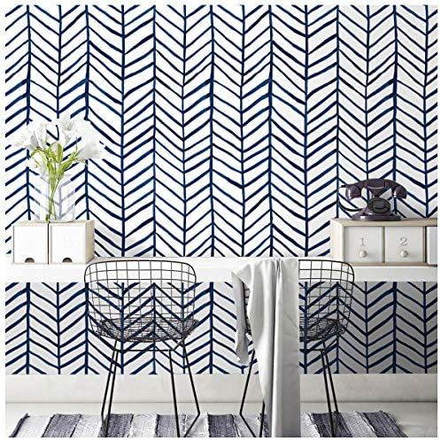 Roommates Rmk9002wp Chevron Blue Stripe Peel And Stick Wallpaper 20 5 X 16 5 Feet Amazon Com Peel And Stick Wallpaper Wallpaper Roll Wall Wallpaper