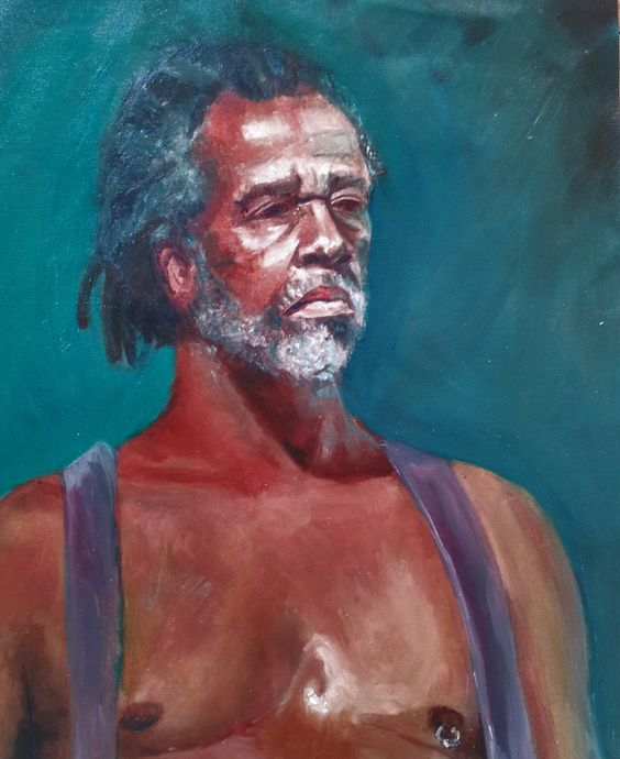"""George, Live Study""  Brittany Davies  Oil on Canvas Pad 16x22""  2011"