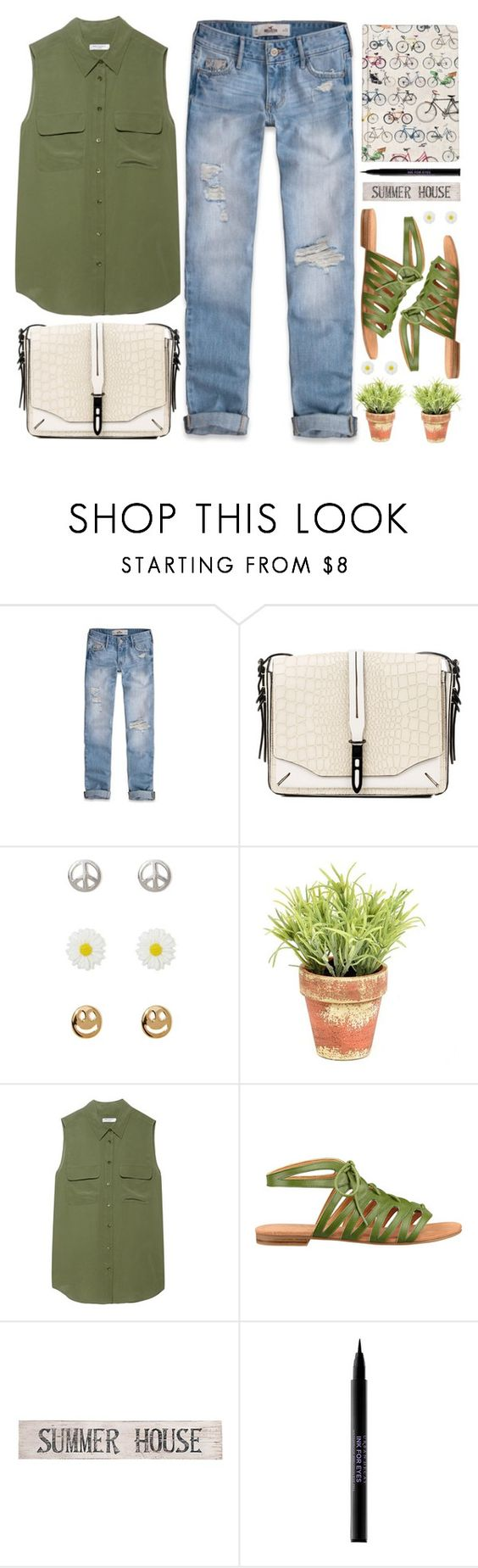 """""""Summer House"""" by allamess ❤ liked on Polyvore featuring Hollister Co., rag & bone, Alexia Crawford, Ella Doran, Equipment, Nine West, Pottery Barn and Urban Decay"""