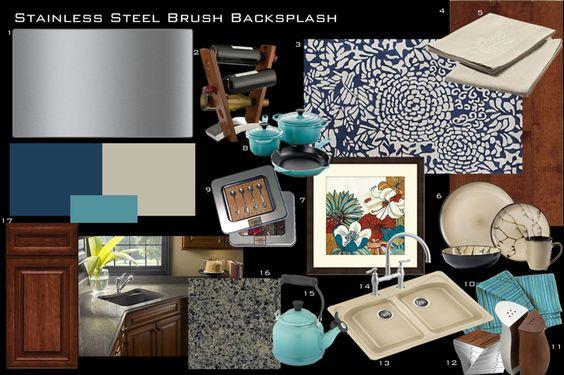 Stainless Steel Brush Backsplash design.  http://www.1005design.com/1005designblog/backsplash-designs/inspiration-boards-stainless-steel-brush-backsplash-contemporary-botanicals/