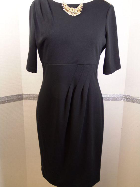 Calvin Klein Dress 6 Little Black Dress Empire Waist pleating ...