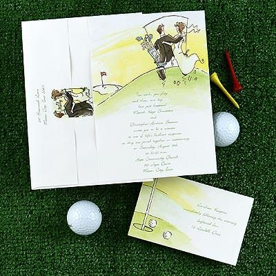 Golf-themed wedding invitations and response cards