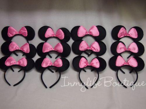 12-Lot-Minnie-Mouse-Blk-w-Light-Pink-Polka-Dots-Bow-Ears-Headband-Birthday