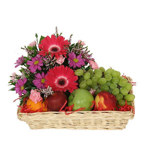 Fruits And Flowers Fruit Flower Basket Online Flower Shop Fruit Basket Gift