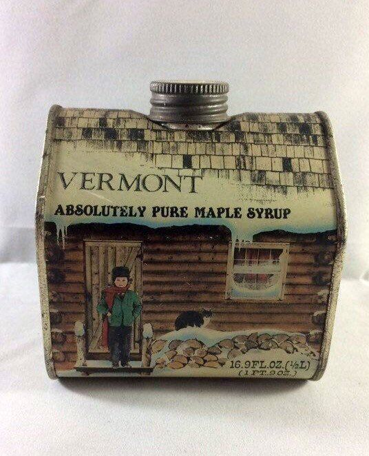 Vintage Vermont Maple Syrup Log Cabin Tin With Screw On Metal Etsy Kids Playing Tin Boxes Maple Syrup