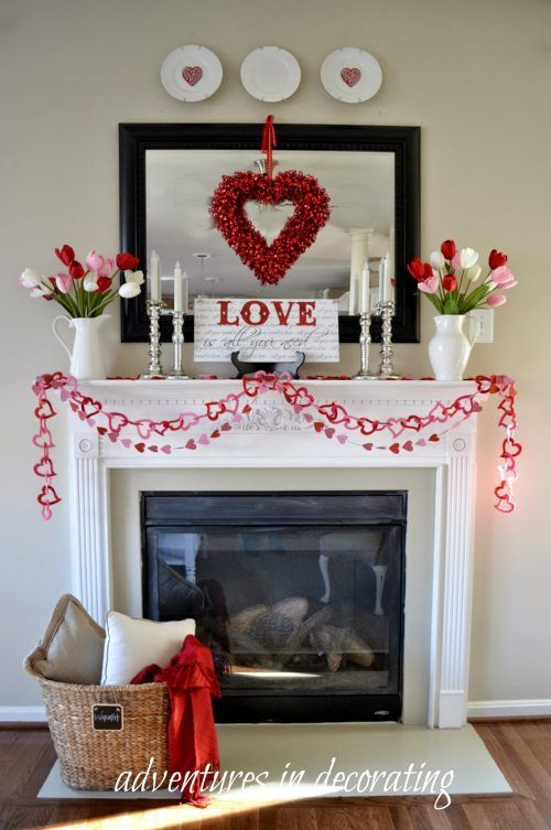 Have fun decorating the warmest part of your home like this Valentine Mantlescape. Valentine Home Decor Ideas and Valentine Mantles on Frugal Coupon Living.: