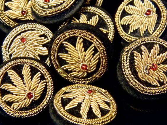 Unusual vintage indian embroidered buttons zardozi by