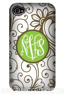 Monogrammed Cell Phone Case- Brownie