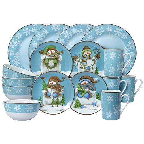 Pfaltzgraff Christmas Evergreen Ernie Set of 4 Mugs