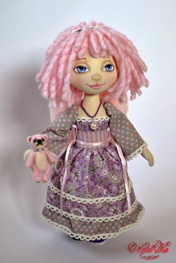 Cloth art doll handmade by NatalKa Creations