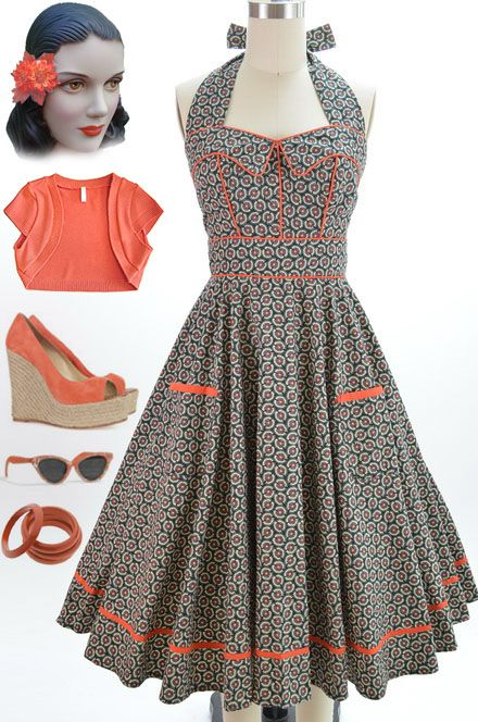 Details about 50s Style POPPY Floral Pinup HALTER Sun Dress with ...