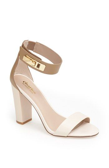 white and nude chunky heel sandals | Style | Shoe Addict ...