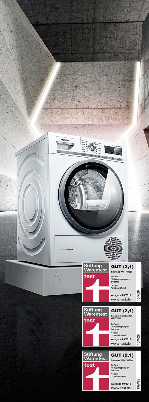 Extraordinary! Stiftung Warentest awards three Siemens tumble dryers with 2,1! // Ausgezeichnet! Stiftung Warentest zeichnet gleich drei Siemens Trockner mit dem Urteil GUT (2,1) aus!#LifeLessOrdinary #enjoysiemens