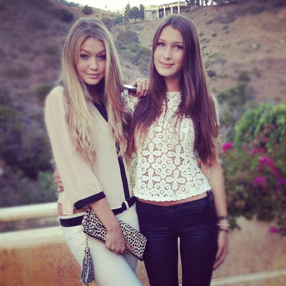 Gigi Hadid with her younger sister Bella Hadid