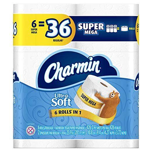 Charmin Ultra Soft Toilet Paper Super Mega Rolls 6 Count Review Toilet Paper Bath Tissue Toilet