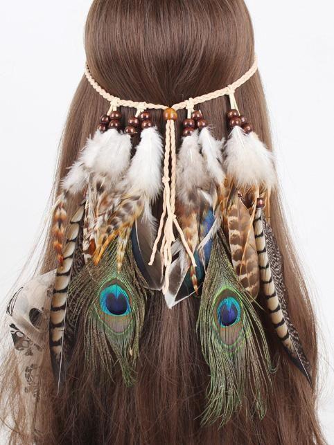 Indian Feathers Headband Tassel Velvet Rope Boho Hairband Festival Headdress