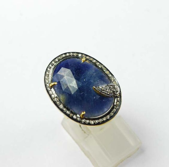 Alluring Blue Sapphire Ring with Sparkling White Topaz SF-1311 by SilverFantasyInc on Etsy