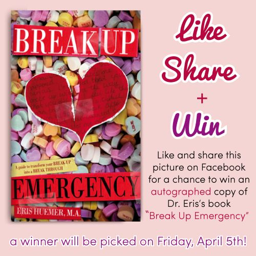 """Win an autographed copy of my book, Break Up Emergency! """"Like"""" and """"Share"""" this image on my Facebook page here: https://www.facebook.com/photo.php?fbid=474892019249189=a.452280974843627.108775.440505059354552=1 #BreakUpEmergency #Contest #LoveEtc #Facebook #Book #Love #Relationships #Advice #SelfHelp #BreakUps #Boyfriend #Girlfriend"""
