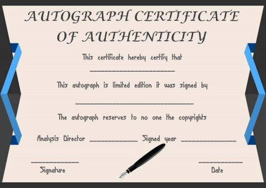 Certificate Of Authenticity Template For Autograph Certificate Simple Words Templates