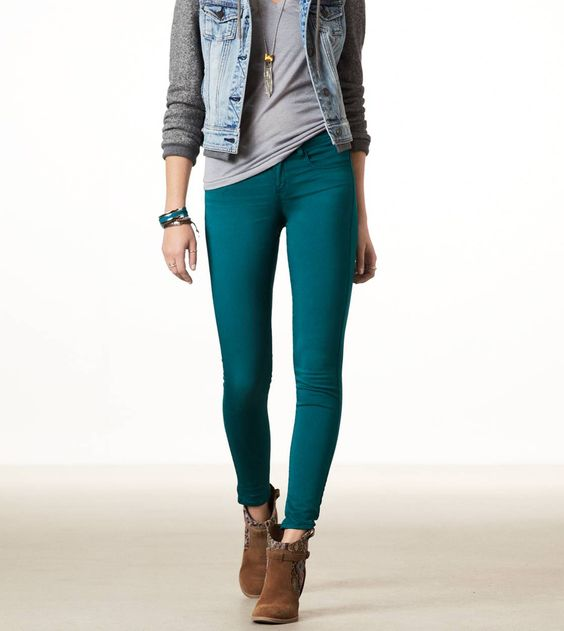 Teal, sateen jeggings...american eagle