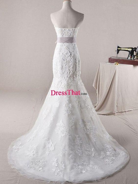 2013_Elegant_Real_Sample_Strapless_Mermaid_White_Lace_Purple_Sash_Floor-length_Brush_Train_Wedding_Dress-2_WD-50397.jpg (600×800)
