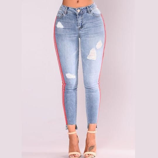 Womens Denim Single-Breasted Zipper Fly Hole Straight Pencil Jeans Pants