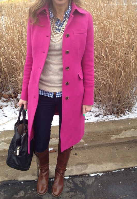 LOVE this. Jeans boots gingham sweater pearls hot pink jacket