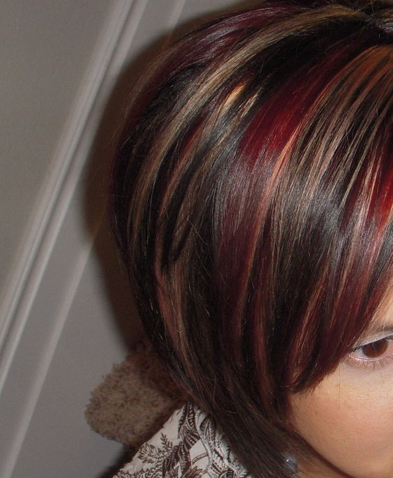 dark hair with red and blonde highlights - Bing Images