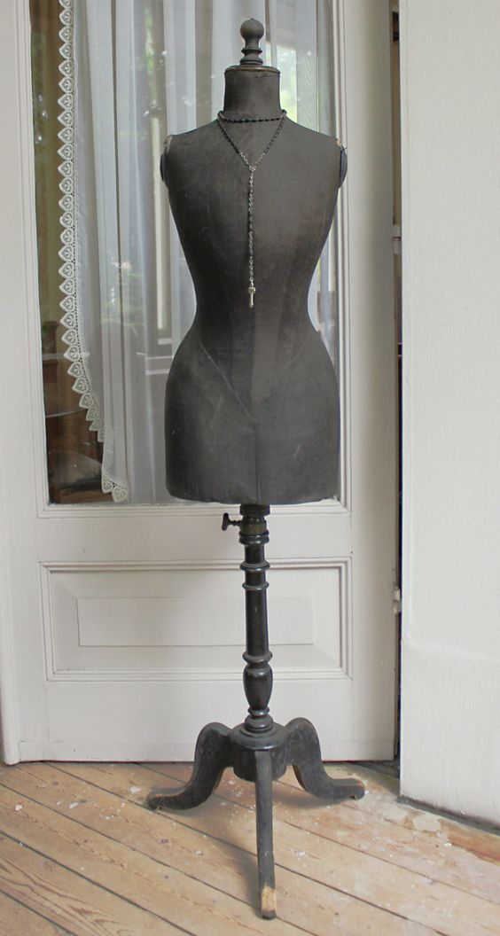 Victorian french Stockman wasp waist mannequin / tailor's dummy with black silk covering. by LaChineuseFrancaise on Etsy