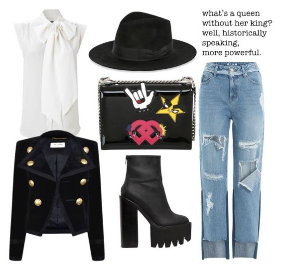 """Untitled #498"" by obsessedaboutstyle on Polyvore featuring Jeffrey Campbell, Yves Saint Laurent, Dsquared2, French Connection and SJYP"