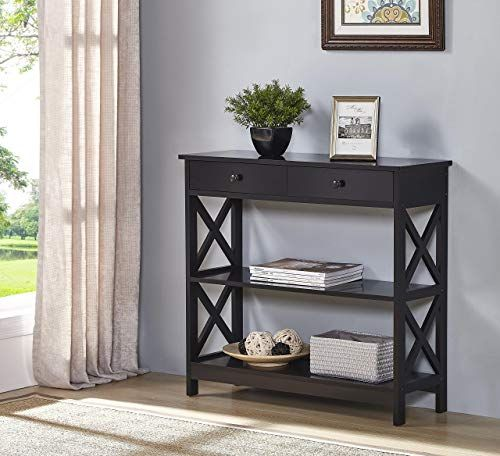 Buy Black Finish 3 Tier Console Sofa Entry Table Shelf Two Drawers Online Chicprettygoods In 2020 Console Furniture Table Shelves Entry Table Decor