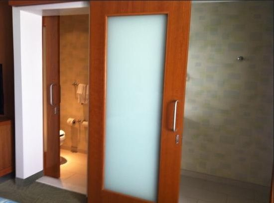 Wooden Sliding Bathroom Doors For Small Spaces With Frosted Glass